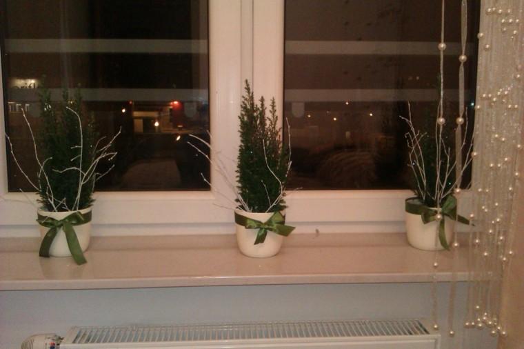 decoracion navideña ventana abetos macetas ideas