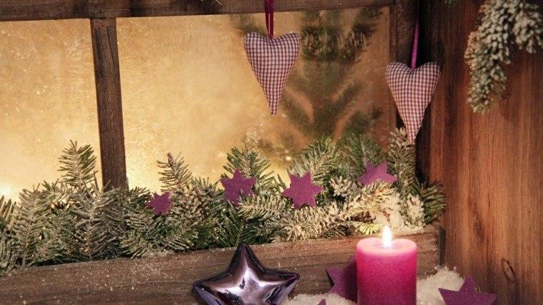decoracion navideña ventana corazon purpura ramas arbol ideas