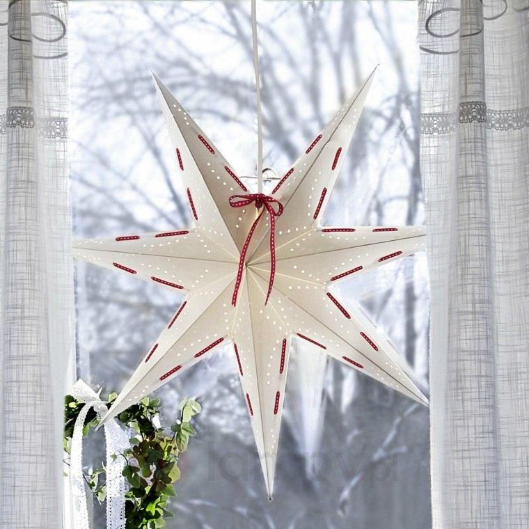 decoracion navidena ventana estrella blanca ideas
