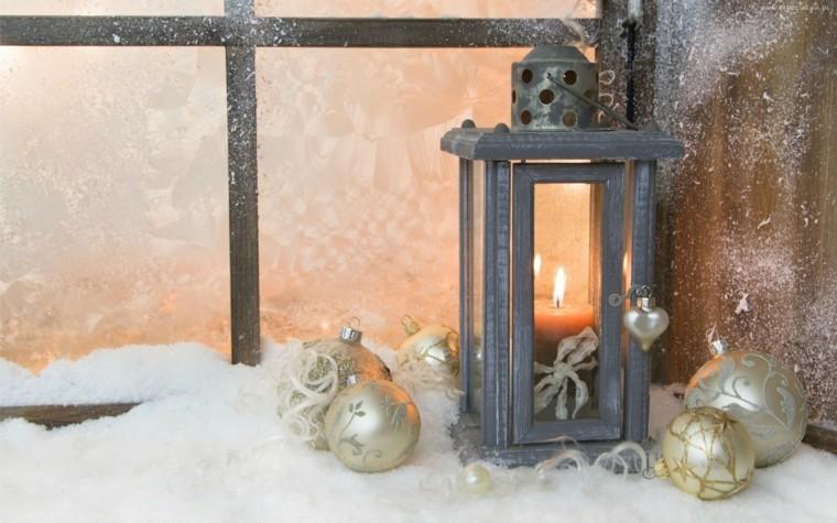 decoracion navideña ventana farola bolas navidad ideas