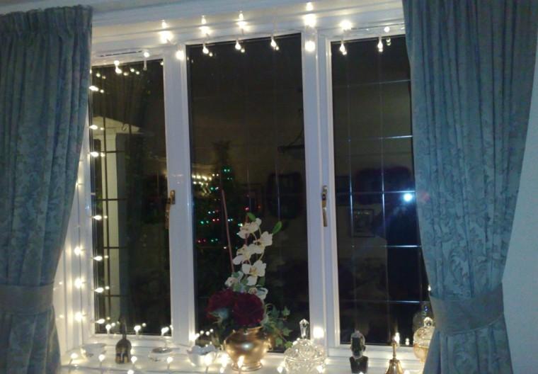 decoracion navideña ventana luces brillantes ideas