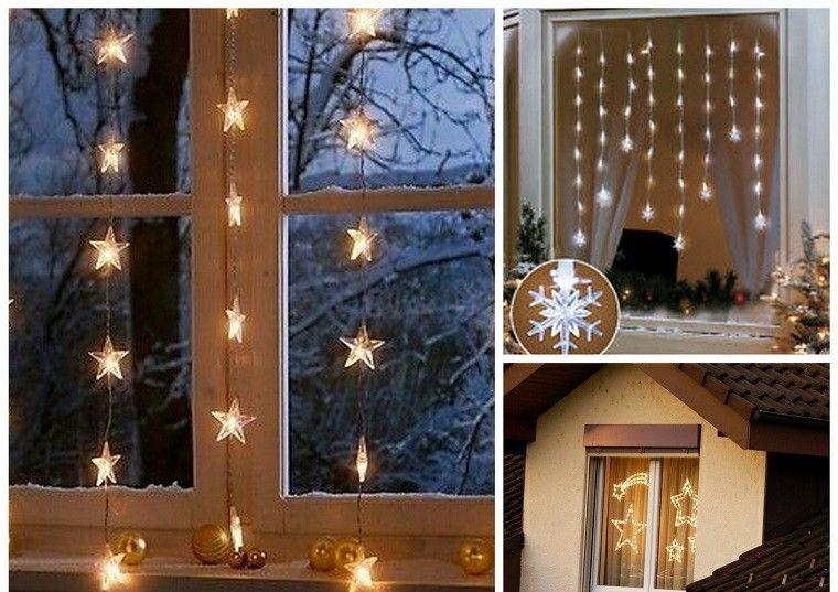 decoracion navideña ventana luces estrella ideas