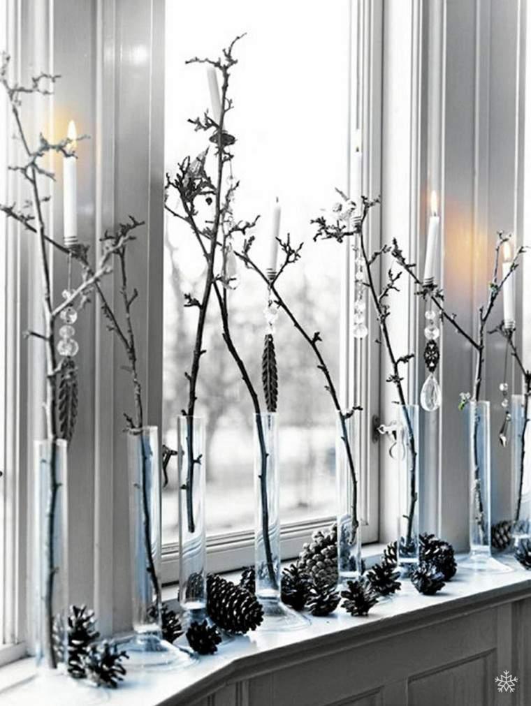 decoracion navidena ventana ramas pinas ideas