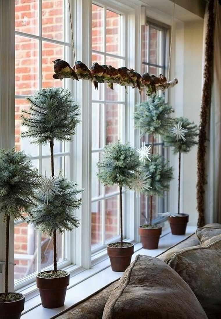 decoracion navideña ventanas abetos macetas ideas