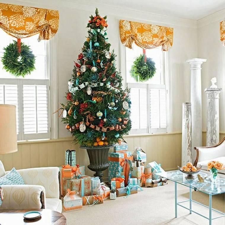 decoracion navideña ventanas arbol salon ideas