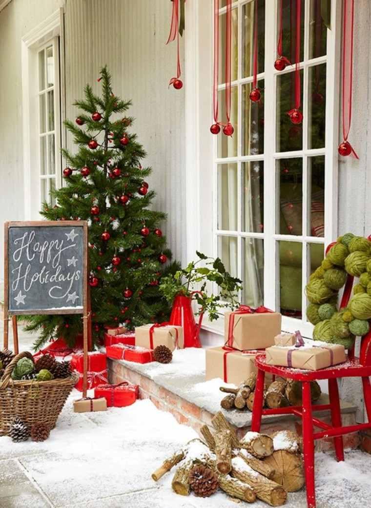 decoracion navideña ventanas bolas lazos rojos ideas