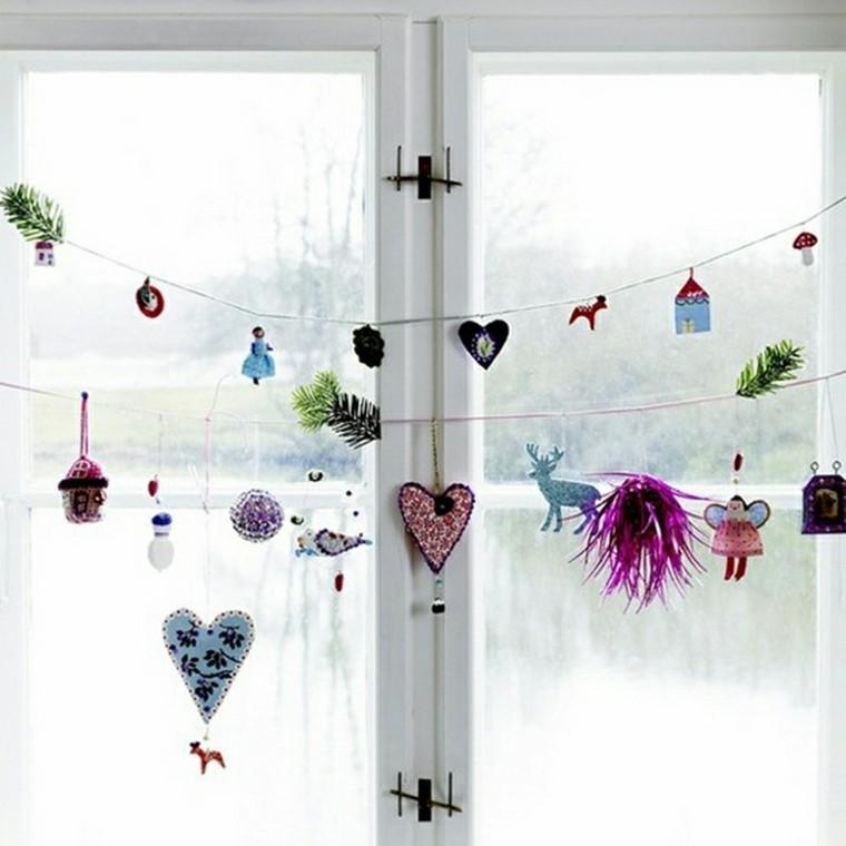 decoracion navideña ventanas corazones renos ideas
