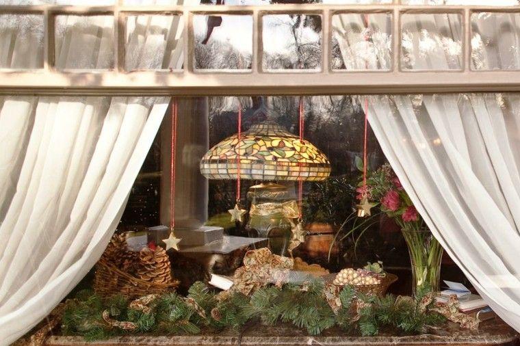 decoracion navideña ventanas estrellas abeto ideas