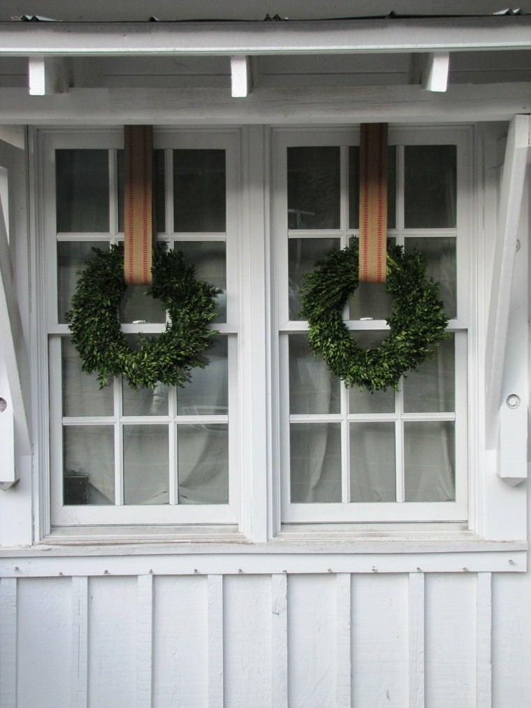 decoracion navidena ventanas guirnalda natural ideas