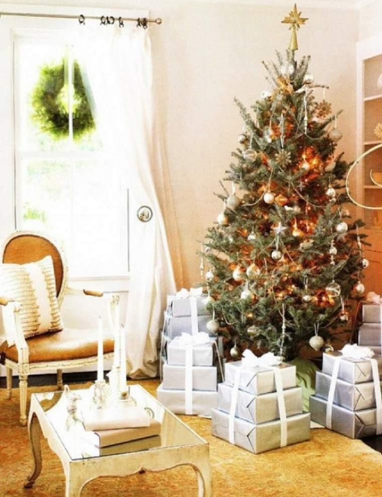 decoracion navidena ventanas guirnalda bonita salon ideas