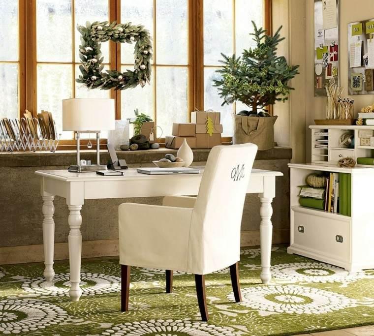 decoracion navidena ventanas guirnalda escritorio ideas