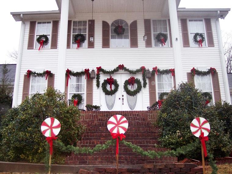 decoracion navidena ventanas guirnaldas lazos casa ideas