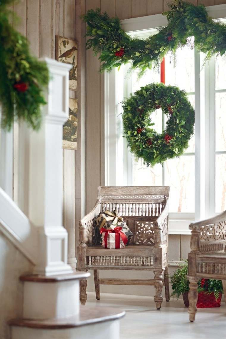 decoracion navidena ventanas guirnaldas verdes ideas