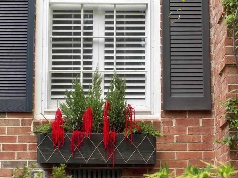 decoracion navidena ventanas maceta abeto ideas