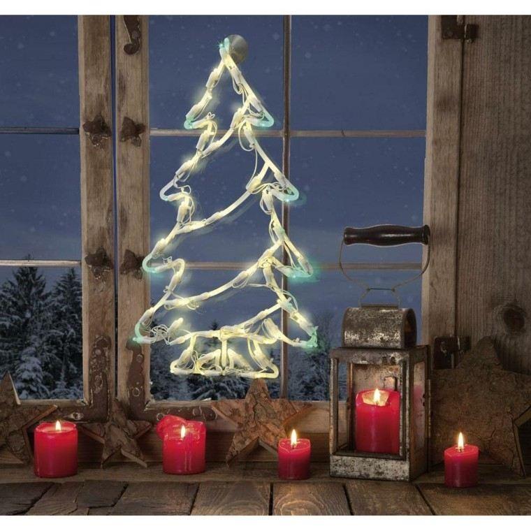decoracion navidena ventanas velas rojas arbol brillante ideas