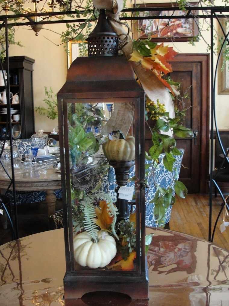 decoracion otono farolas iluminacion acero calabazas ideas