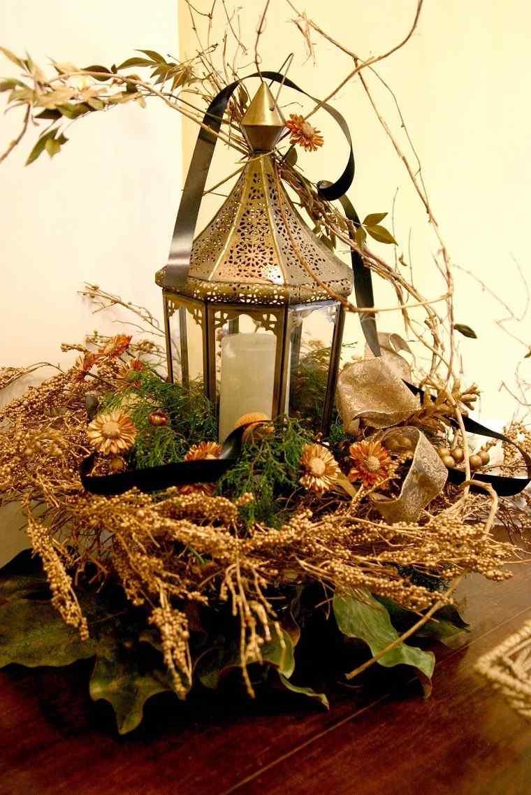 decoracion otono farolas iluminacion centro mesa flores secas ideas