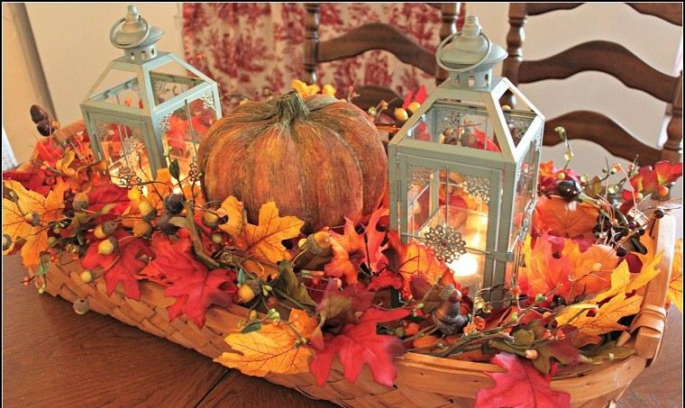 decoracion otoño farolas iluminacion centro mesa ideas