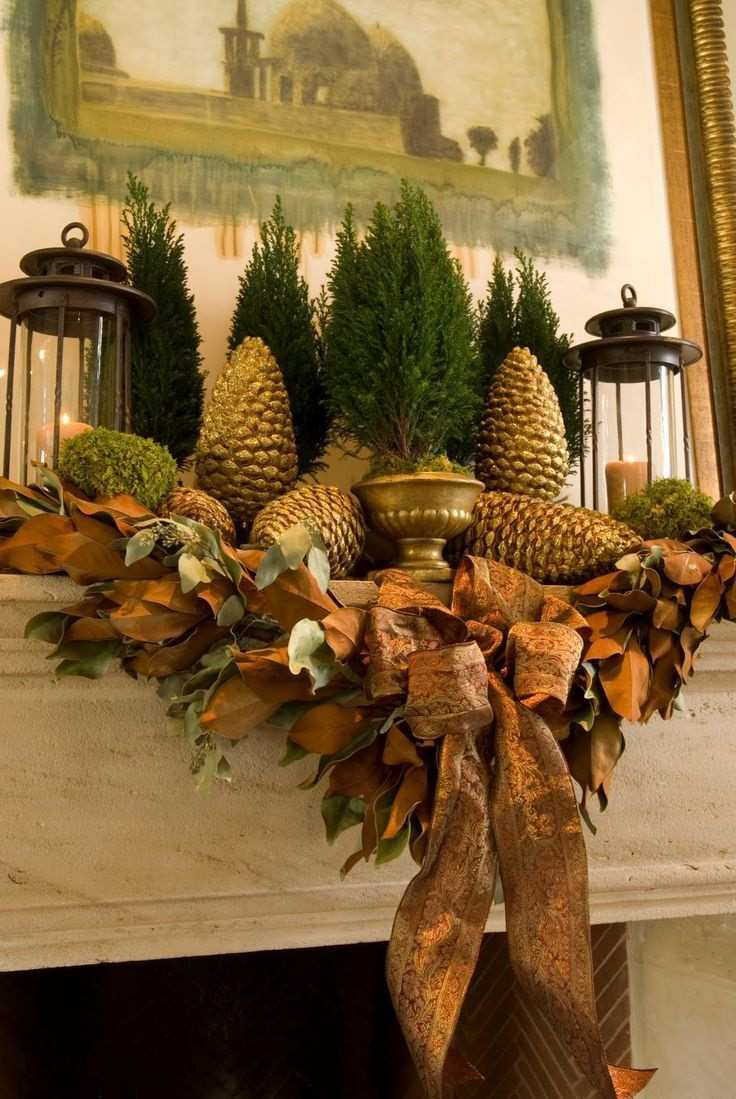 decoracion otoño farolas iluminacion chimenea guirnalda ideas