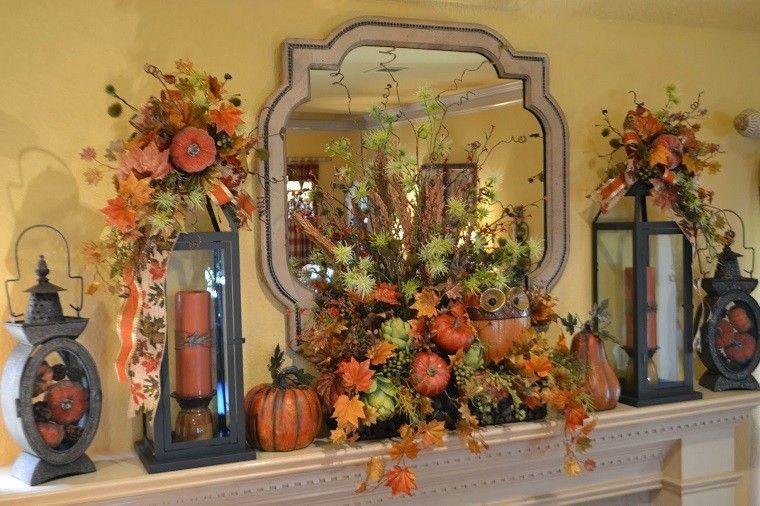 decoracion otoño farolas iluminacion chimenea ideas