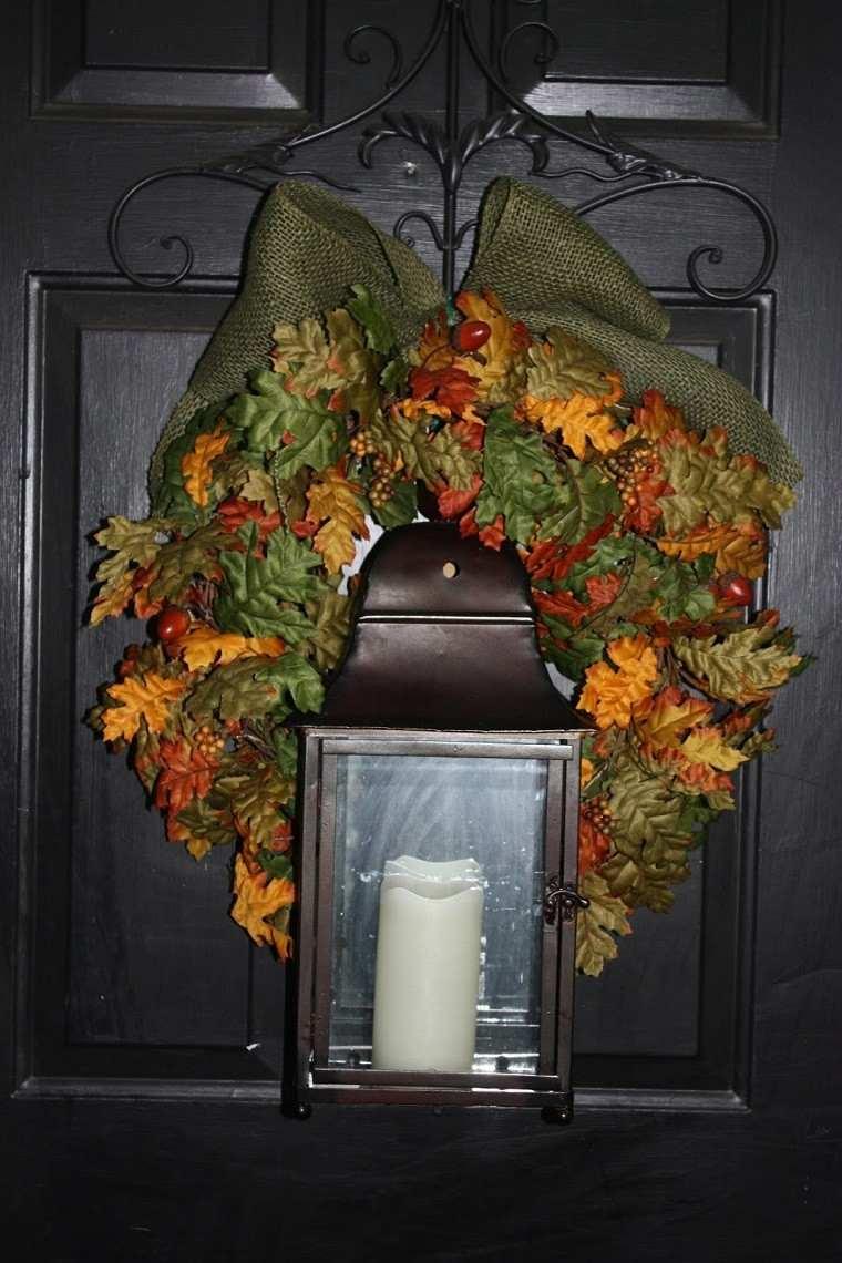 decoracion otoño farolas iluminacion colgado puerta ideas