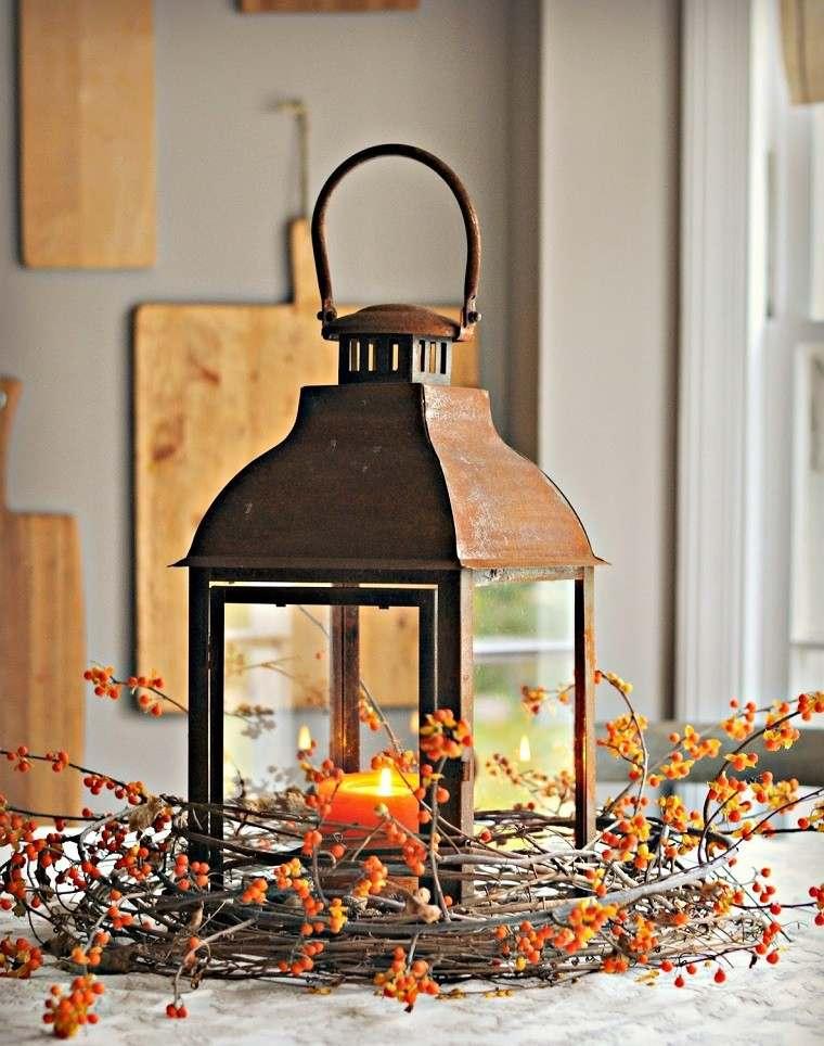 decoracion otoño farolas iluminacion estilo rustico mesa ideas
