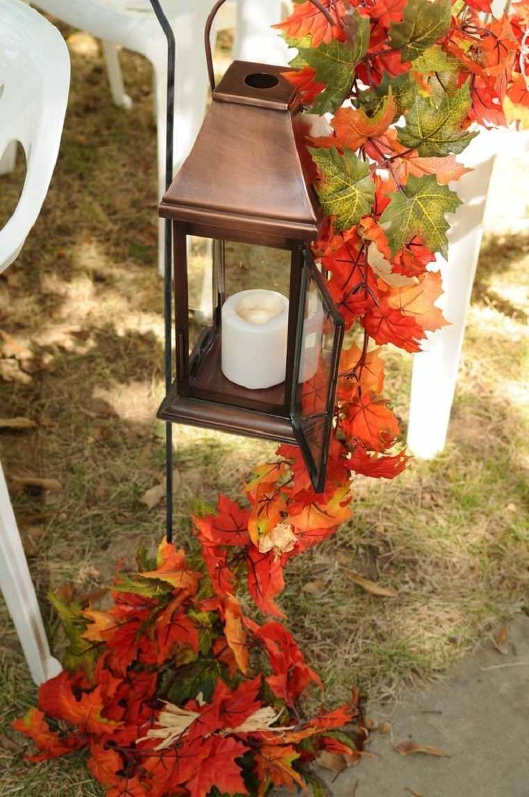 decoracion otoño farolas iluminacion guirnalda hojas exterior ideas