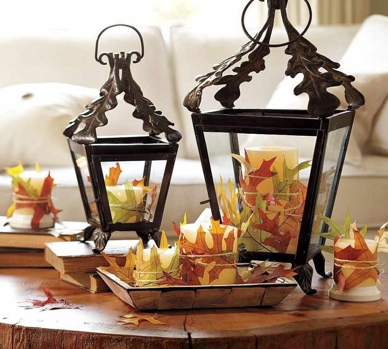 decoracion-otono-farolas-iluminacion-hojas-secas
