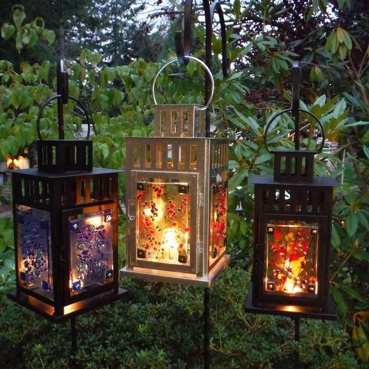 decoracion otoño farolas iluminacion jardin blanco negro ideas