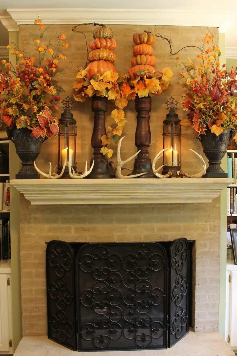 decoracion otono farolas iluminacion jarrones hojas secas ideas