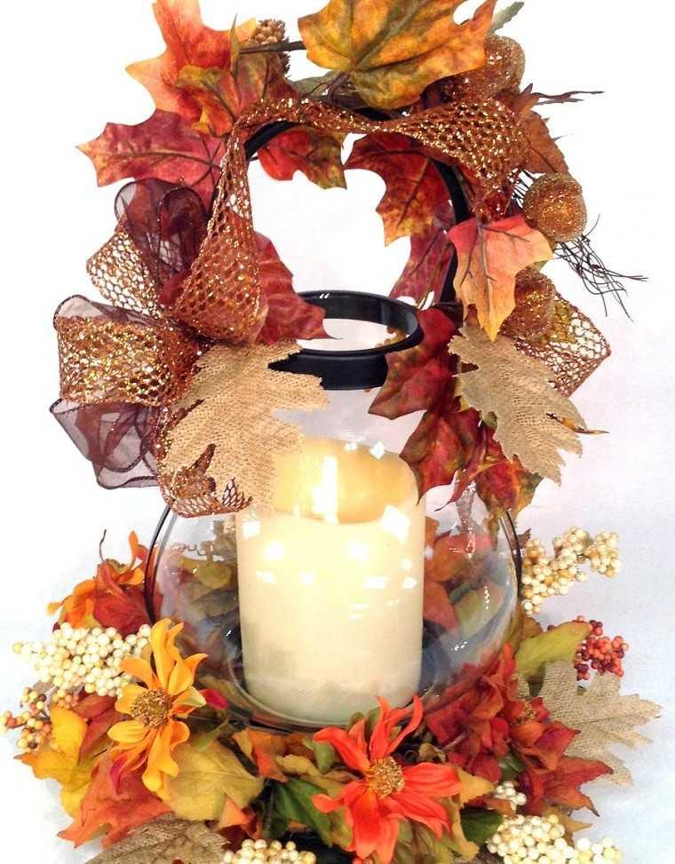 decoracion otoño farolas iluminacion lazos vela ideas