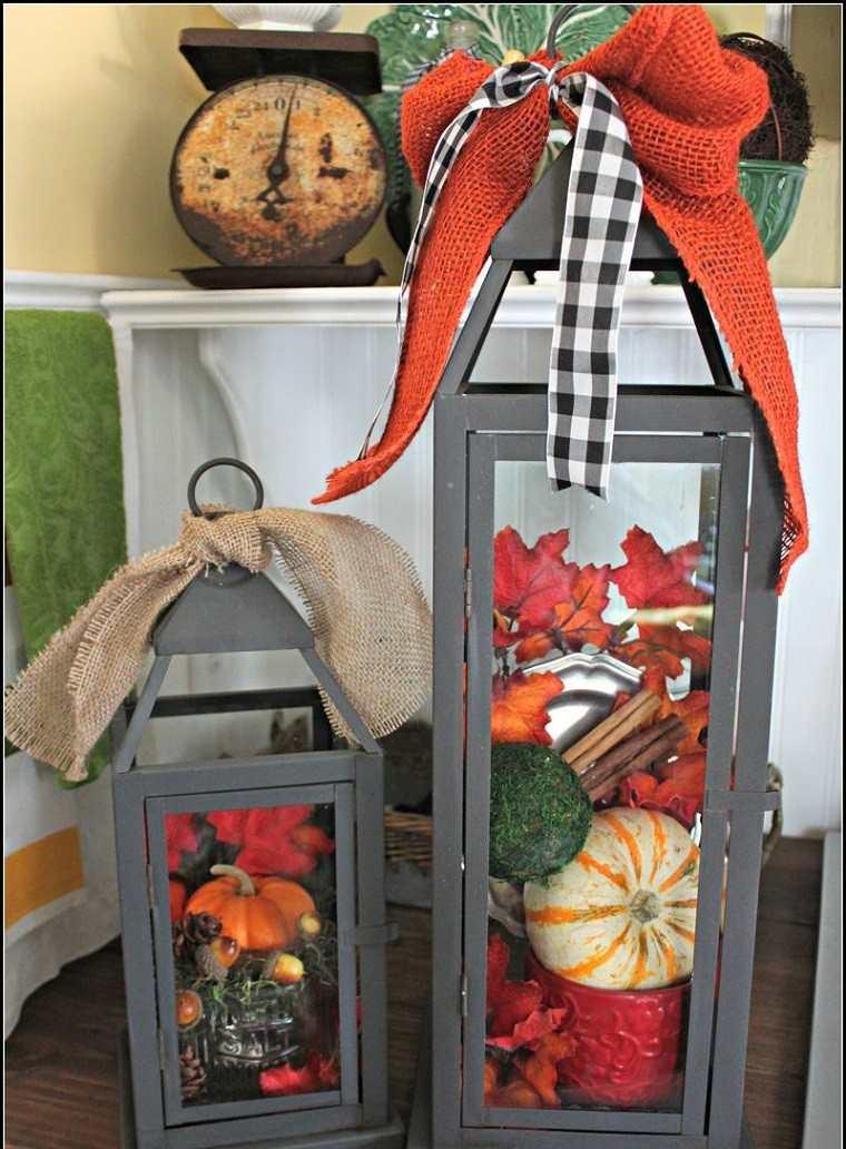 decoracion otoño farolas iluminacion lazos ideas