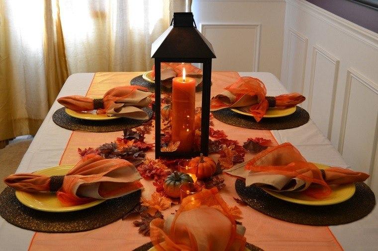 decoracion otoño farolas iluminacion mesa cena ideas
