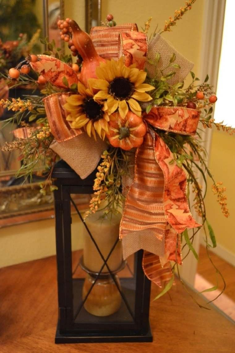 decoracion otono farolas iluminacion ramo lazo ideas