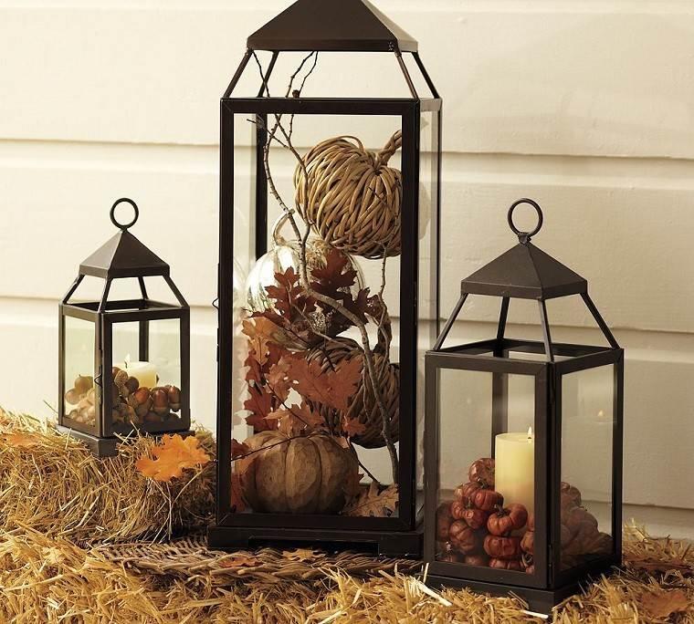 decoracion otoño farolas negras iluminacion calabazas ideas