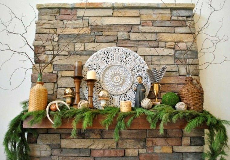 decoracion rustica chimenea navidad