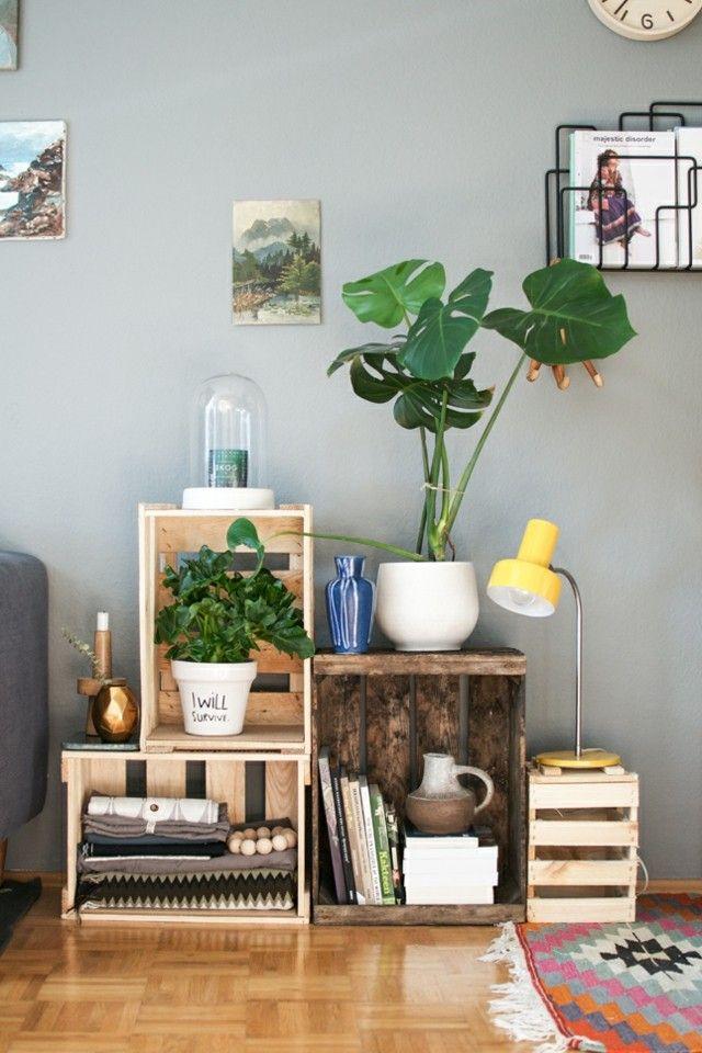 decorar cajas de madera salon