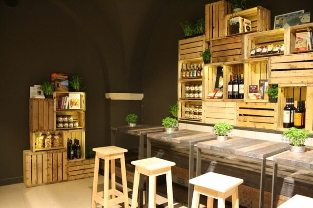 decorar cajas de madera cocina moderna