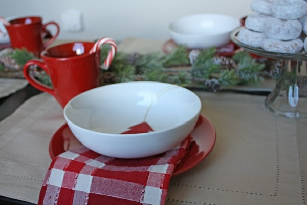 desayuno navidad servilleta roja bol
