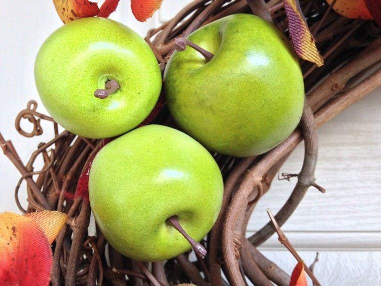 detalles manzanas coloridas diseño ramas