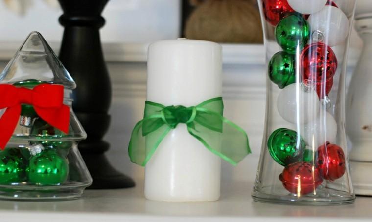 detalles velas lazo verde vidrio