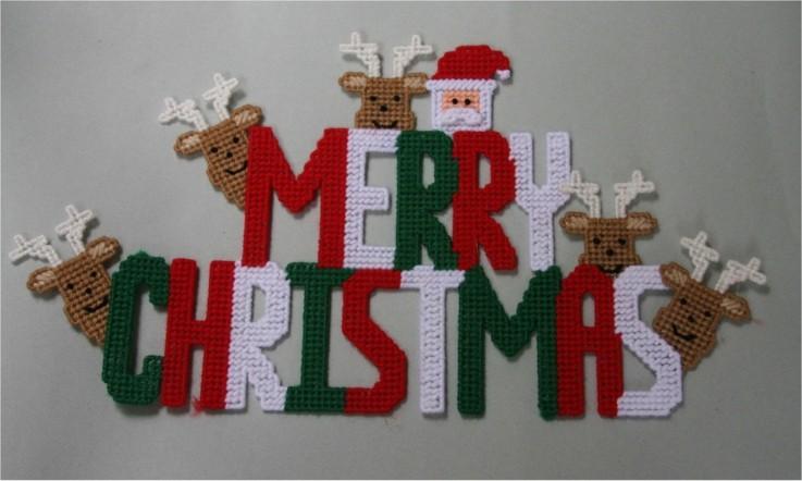 diseño letras cartel crochet navidad