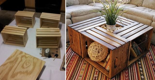 diseño mesa salón cajas madera