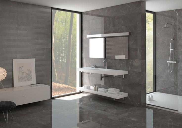 Baldosas Baño Grises:Azulejos grises para suelos y paredes – 50 modelos