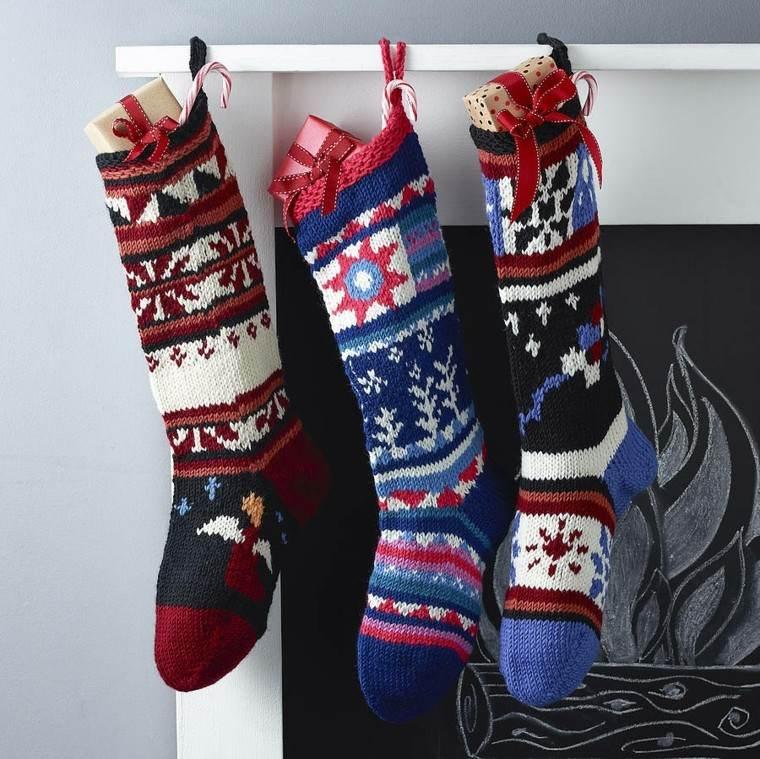 diseño medias navidad ganchillo colores