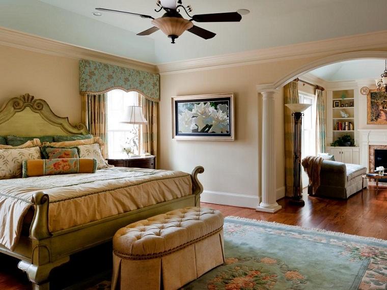 dormitorio moderno paredes color otoño acogedor alfombra azul marino ideas