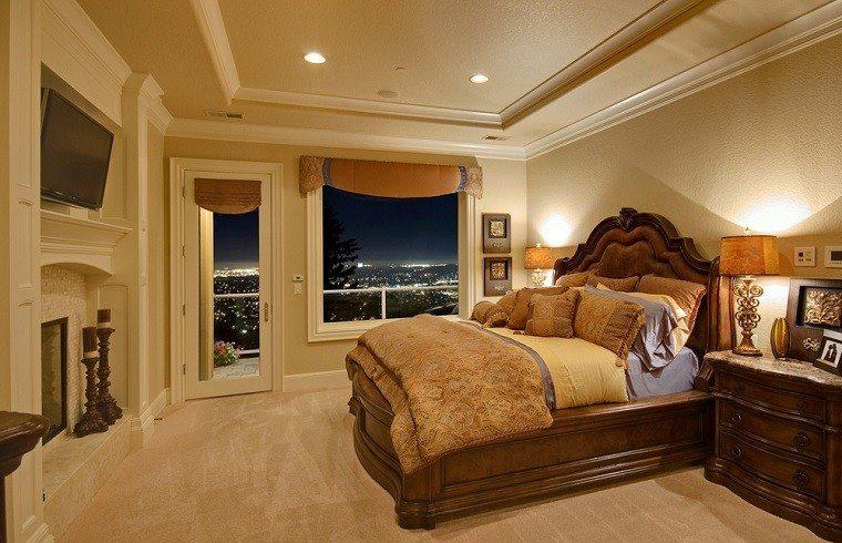 dormitorio-ideas-moderno-paredes-color-otoño-acogedor-cama-madera