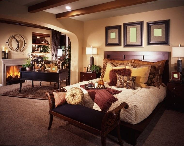 dormitorio moderno paredes color otoño acogedor chimenea cuadros precioso