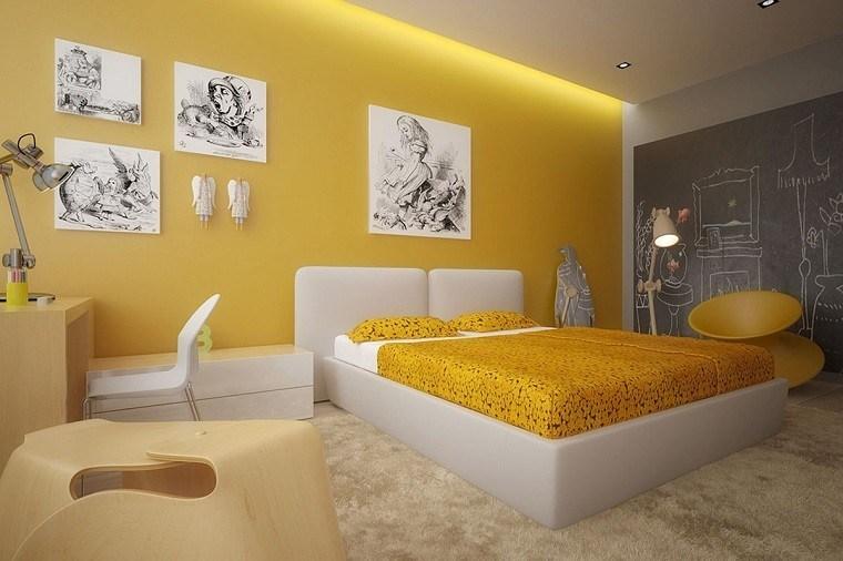 Dormitorio ideas de muebles y paredes en colores otoñales -