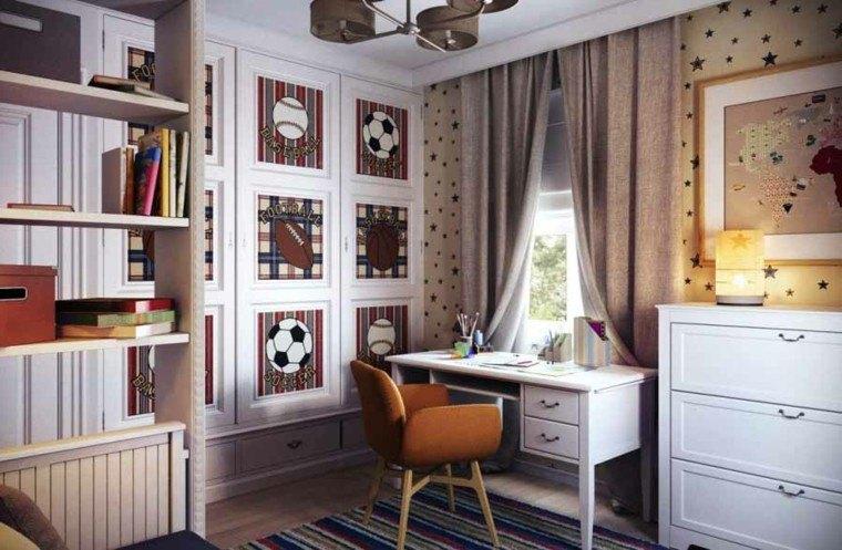 dormitorio infantil estilo retro marron